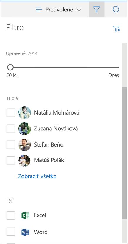 Filtre na table Zmena zobrazenia súborov