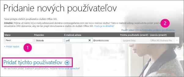 Pridanie používateľov pre nájomníka služieb Office 365