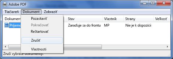 V ponuke Dokument kliknite na položku Zrušiť.