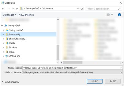 Keď stiahnete vzorový súbor .csv, uložte ho do počítača ako súbor typu .csv.