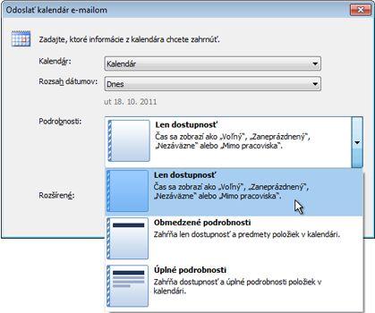 Zoznam Podrobnosti v dialógovom okne Odoslať kalendár e-mailom