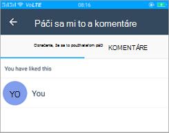 Snímka obrazovky so stránkou like and Comments v Kaizala