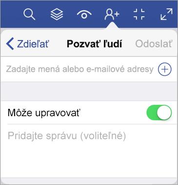 Môžete zadať mená alebo e-mailové adresy a pozvať ostatných na zobrazenie diagramu vo Visio Vieweri pre iPad.