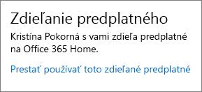 Časť Zdieľanie predplatného na stránke Moje konto, na ktorej je zobrazené prepojenie Prestať používať toto zdieľané predplatné.