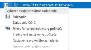 Snímka obrazovky s ponukou Vyberte svoje primárne zariadenie