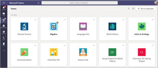 Zobrazenie tímov pre učebné predmety študenta