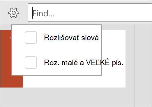 Zobrazia sa možnosti rozlišovať a slovo zápas v PowerPointe pre Android.