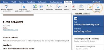 Obnovenie na ľavej strane obrazovky a tabla Asistent pre životopis na pravej strane