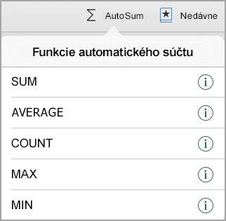 Ponuka funkcií Automatický súčet