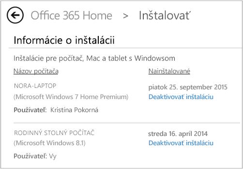 Stránka Inštalácia zobrazujúca názov počítača ameno osoby, ktorá Office nainštalovala.