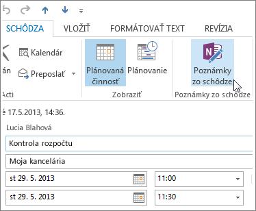 Zapisovanie poznámok počas schôdze v Outlooku