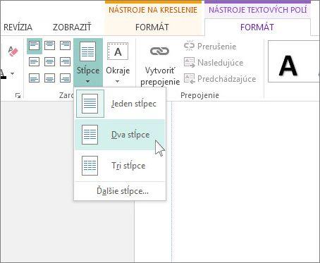 Snímka obrazovky s príkazom Stĺpce na karte Nástroje textových polí v Publisheri.