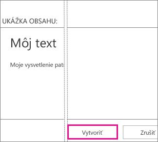 Tlačidlo Vytvoriť nachádzajúce sa v okne Pridať textové pole