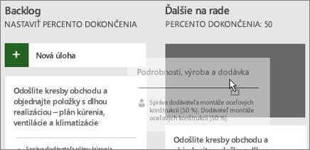 Snímka obrazovky s prenosom úlohy z jedného stĺpca panela s úlohami do druhého.