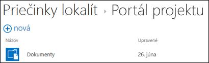Vyberte lokalitu vzozname priečinkov lokality vslužbách Office 365, na ktorej chcete zobraziť knižnice dokumentov.