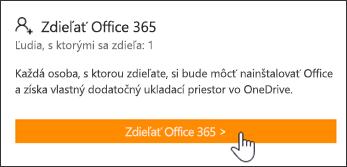 Časť Zdieľať Office 365 na stránke Moje konto pred zdieľaním predplatného sľubovoľným používateľom.