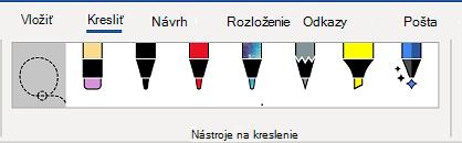 Karta nástroje na kreslenie na páse s nástrojmi programu Word.