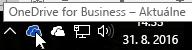 Snímka obrazovky znázorňujúca ukázanie kurzorom myši na modrú ikonu OneDrivu stextom OneDrive for Business.
