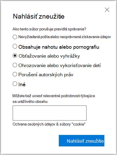 Snímka obrazovky dialógového okna Správa zneužitie poľa vo OneDrive
