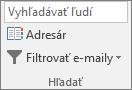 V Outlooku na karte Domov vyberte v skupine Hľadať položku Adresár.