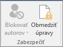 Zobrazuje sa ikona Obmedziť úpravy na karte Revízia