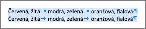Príklad zdrojového textu pripraveného na konvertovanie na tabuľku