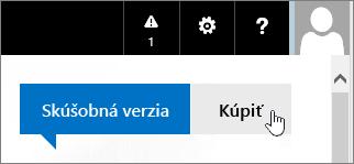 Tlačidlo na zakúpenie skúšobnej verzie služieb Office 365