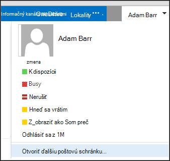 Ponuka Otvoriť poštovú schránku iných používateľov vaplikácii Outlook Web App