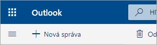 Snímka obrazovky sľavým horným rohom poštovej schránky služby Outlook.com vo verzii beta