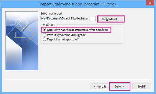 Vyberte súbor .pst, ktorý chcete importovať