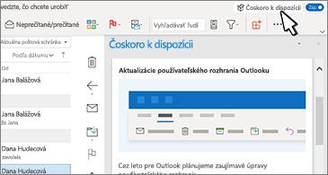 Doručená pošta s tablou Už čoskoro na pravej strane obrazovky