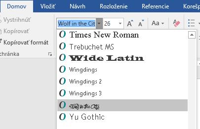 Nové písmo sa teraz zobrazuje v zozname písem vo Worde.