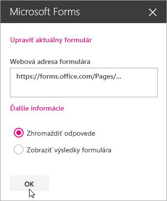 Po vytvorení nového formulára panel webovej časti služby Microsoft Forms zobrazuje webovú adresu formulára.