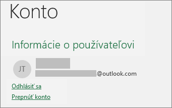 Zobrazuje prepojenie Odhlásiť sa v zobrazení Backstage v Office pre Windows