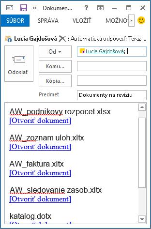 Prepojenia na dokumenty v e-mailovej správe