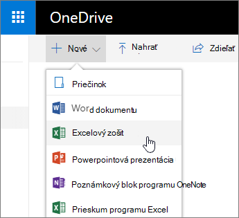 Nová ponuka služby OneDrive, príkaz zošit programu Excel