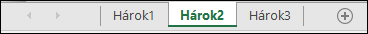 Ušká hárkov v dolnej časti okna programu Excel