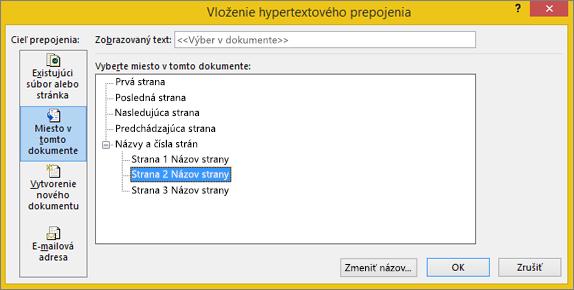 Vytvorenie hypertextového prepojenia na stranu v publikácii