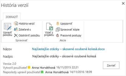 Dialógové okno História 2016 verziu služby SharePoint