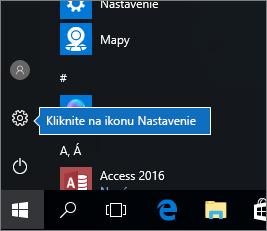 V ponuke Štart kliknite na ikonu Nastavenia Windowsu