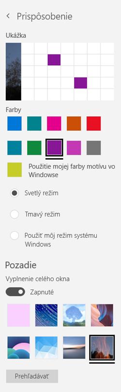 Vyberte obrázok na pozadí a vlastných farieb pre vaše aplikácie