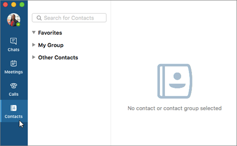 Contacts tab
