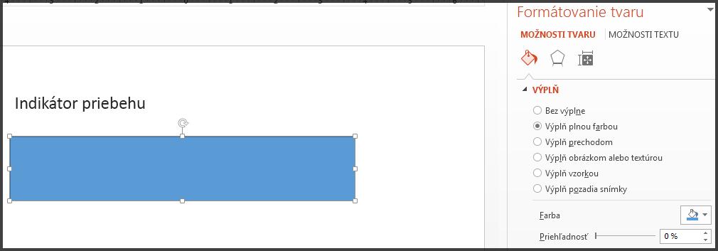 Indikátor priebehu s modrou výplňou