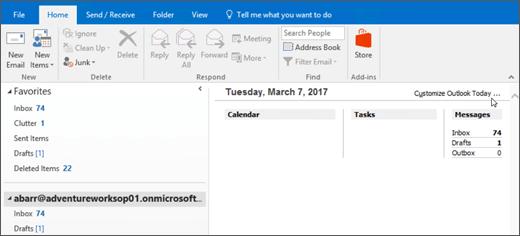 Snímka obrazovky s Outlook dnes Zobraziť v programe Outlook, ktorej meno vlastníka poštovej schránky, daný deň a dátum, a priradené kalendára, úloh a správ za deň.