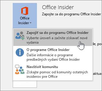 Tlačidlo na pridanie sa k programu Office Insider