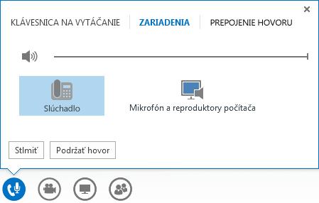 Snímka obrazovky s možnosťami zvuku