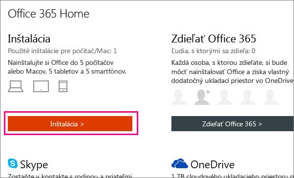 Na stránke služieb Office 365 Home sa zobrazí tlačidlo Inštalovať