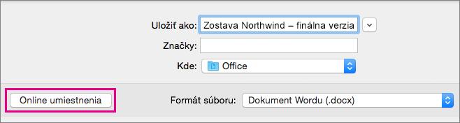 V ponuke Súbor kliknite na položku Uložiť ako a potom kliknite na položku Online umiestnenie na uloženie dokumentu do online umiestnenie.