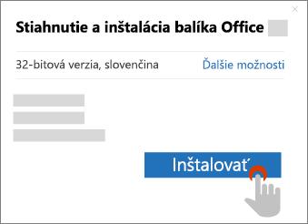 Zobrazuje tlačidlo Inštalovať v dialógovom okne Stiahnutie balíka Office