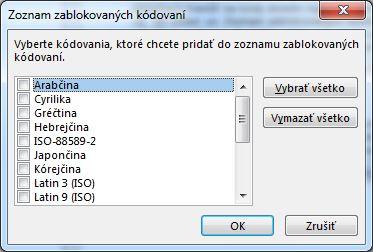 Dialógové okno Zoznam zablokovaných kódovaní